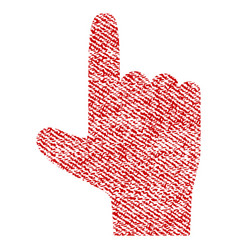 Hand pointer up fabric textured icon vector