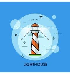 Lighthouse icon logo line flat design vector
