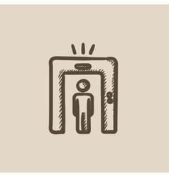 Man going through metal detector gate sketch icon vector