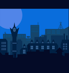 Night industrial european city blue styled vector