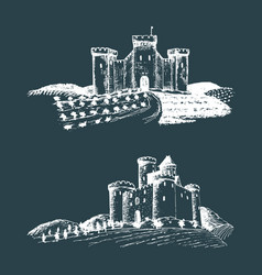 Old castles hand drawn vector