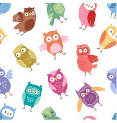 owls cartoon cute bird set cartoon owlet vector image