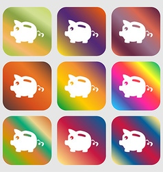 Piggy bank icon sign Nine buttons with bright vector image