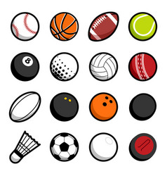 play sport balls logo icon isolated objects set vector image vector image