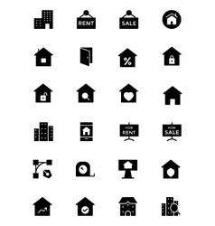 Real estate solid icons 2 vector