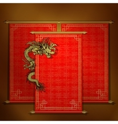 Red scroll with chinese dragon vector image