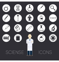 Sciense white icons vector image vector image