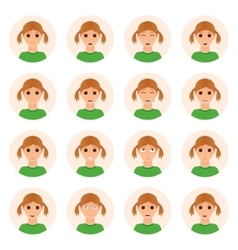 Set of girl emotions icons vector image vector image