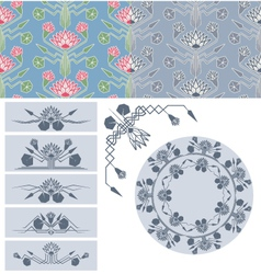set of lotus decoration design element vector image vector image