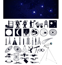 Space travel design elements vector