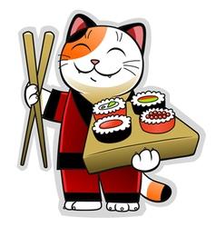 Sushi cat vector