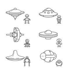 Thin line aliens with spaceships icons vector image