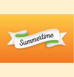 trendy retro ribbon with text summertime colorful vector image