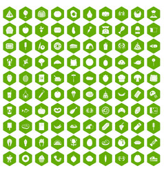 100 favorite food icons hexagon green vector image