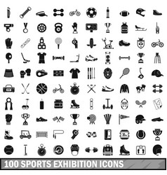 100 sports exhibition icons set simple style vector