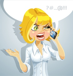 Girl talking on phone about something unpleasant vector image