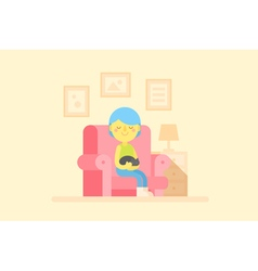 Girl sitting in a cozy armchair with a cat vector