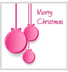 Three pink paper christmas decoration baubles vector