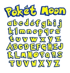 Poket Moon font colorful letters for your game vector image