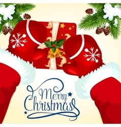 Christmas greeting card with Santa and gift box vector image