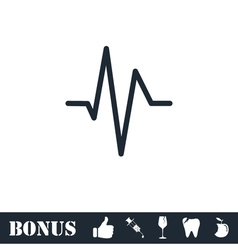 Heart beat cardiogram icon flat vector