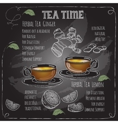 Herbal tea time card with cup teapot lemon vector