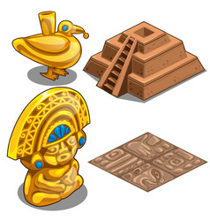 Golden maya objects flooring and pyramid model vector