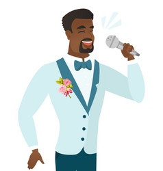Young african groom singing to the microphone vector