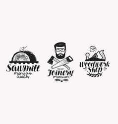 Joinery sawmill label set woodwork shop icon or vector
