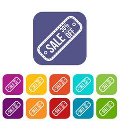 Sale tag 30 percent off icons set vector