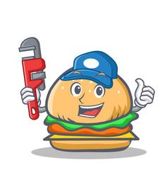 Plumber burger character fast food vector