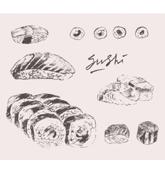 Sushi set hand drawn engraving vintage vector