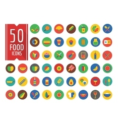 Food icons set fruit kitchen and drinks vector