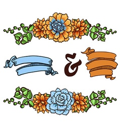 Decorative floral element of succulents vector