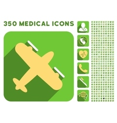 Screw aeroplane icon and medical longshadow icon vector
