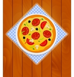 Pizza in white plate on kitchen napkin at wooden vector