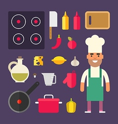 Kitchen appliances and food male cartoon character vector