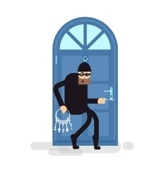 Isolated thief burglar sneaks to vector