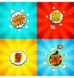 Set of disco party symbols in pop art style vector