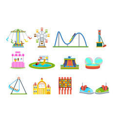 amusement park for children with attraction games vector image