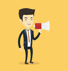 business man speaking into megaphone vector image vector image