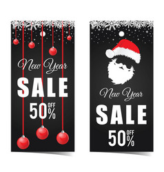 card for new year sale with santa claus vector image vector image