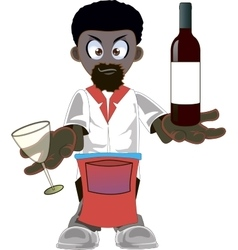 Cartoon african american waiter vector