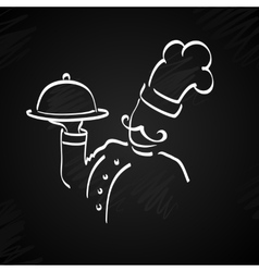 Chef with tray of food in hand vector image