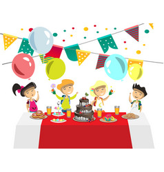 children s birthday with balls and cake vector image vector image