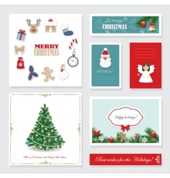 Christmas card templates set vector image