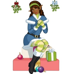 Christmas elf African American girl with mistletoe vector image vector image