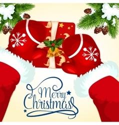 Christmas greeting card with Santa and gift box vector image vector image
