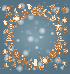 christmas holiday card with ginger cookies vector image vector image