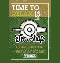 Color vintage tea shop banner vector